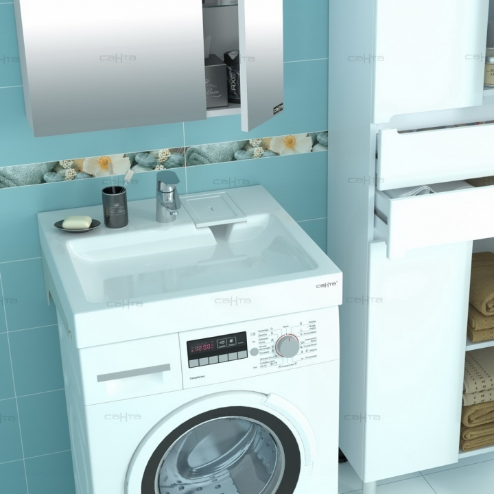 Раковина над стиральной машиной СанТа Лидер 60x59 с кронштейнами 900101 заказать онлайн в магазине OtdelkaOnline.ru